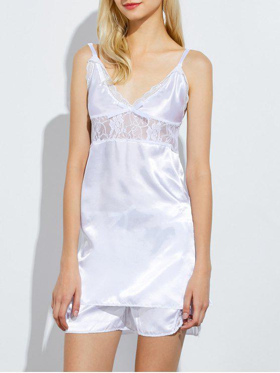 Panel de encaje Cami camisetas sin mangas y pantalones cortos pijamas - Blanco M