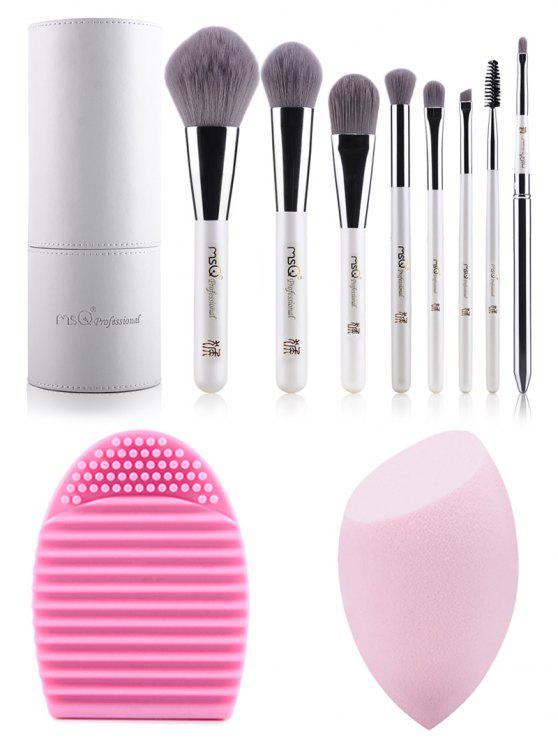 8 pcs Pinceaux de maquillage en kit + Brosse forme d'œuf + éponge maquillage - Blanc