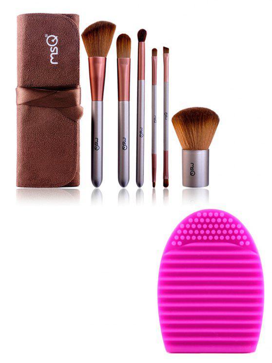 trousse de pinceaux de maquillage  et un oeuf de brosse (Magique pinceau de Cleaner) - Café