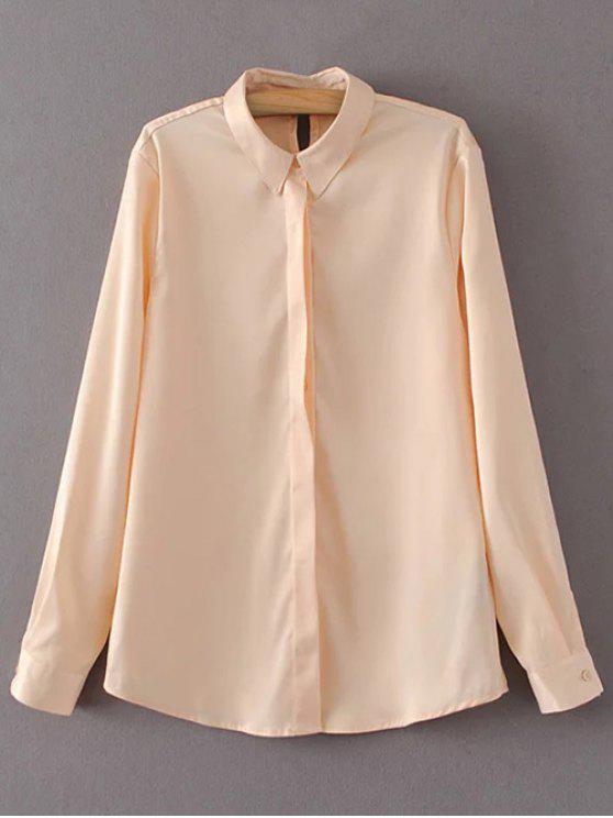 ladies Satin Boyfriend Shirt - YELLOWISH PINK L