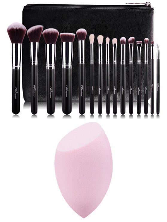 trousse de pinceaux de maquillage et une éponge de maquillage (en forme d'oeuf coupé) - Multicolore
