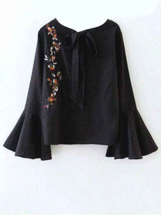 Recortable la llamarada de la manga de la blusa floral atado - Negro S