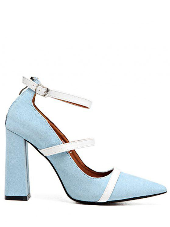 buy Strappy Zipper Chunky Heel Pumps - LIGHT BLUE 38