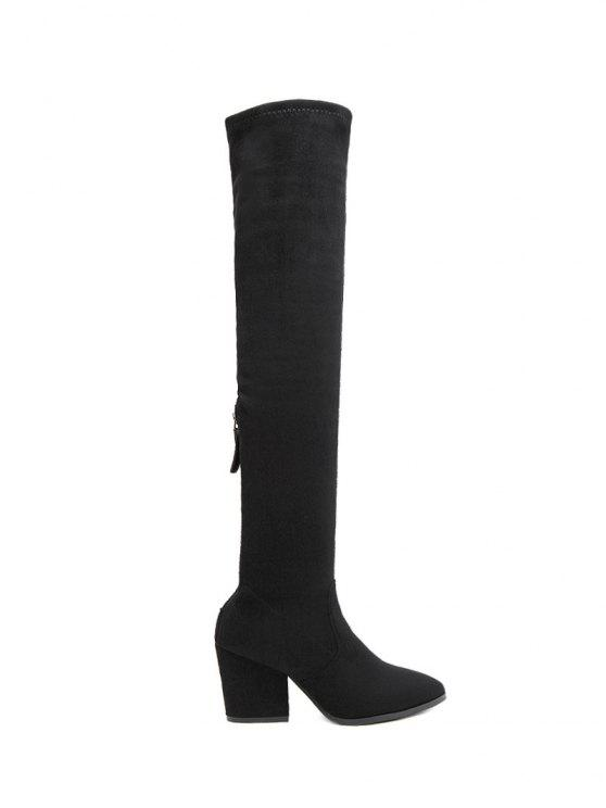 women's Chunky Heel Pointed Toe Zip Thigh Boots - BLACK 38