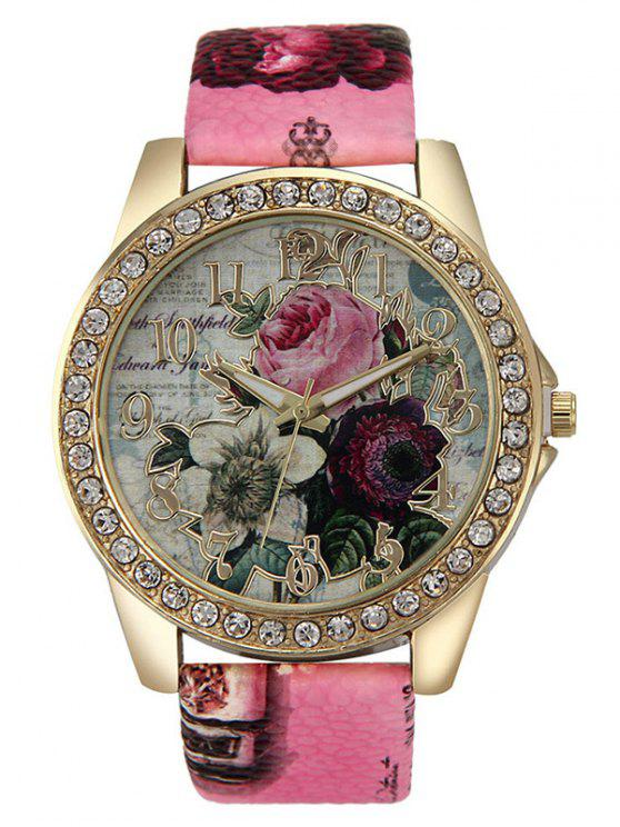 In pelle con strass Faux Rose Quartz Watch - Tutti Frutti