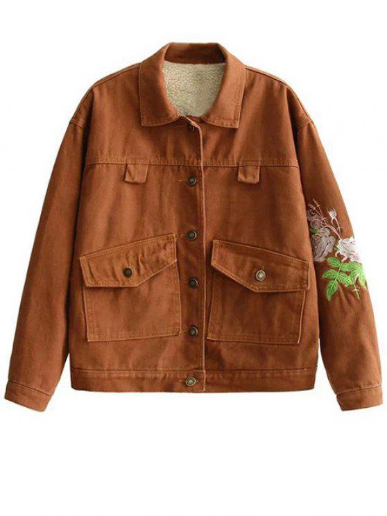 shop Sherpa Fleece Lining Denim Jacket - EARTHY S