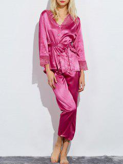 Belted Lace Insert Nightwear Pajamas - Rose Red M