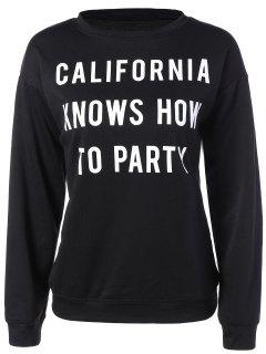 Sweatshirt à Col Ras Du Cou Et Imprimé En Californie - Noir L