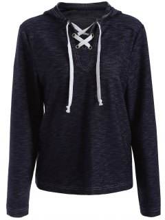 Lace-Up Drawstring Pullover Hoodie - Blue Xl