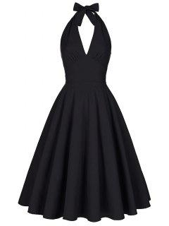 Backless Plunge Halter Vintage Swing Skater Party Dress - Black M