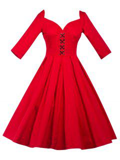 Lace-Up Bowknot Vintage Swing Dress - Red M