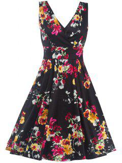 High Waist Floral Surplice Dress - Black Xl