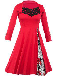 Floral And Polka Dot Tea Length Swing Vintage Dress - Red 2xl