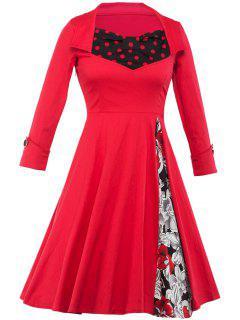 Floral And Polka Dot Tea Length Swing Vintage Dress - Red M