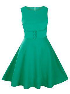 Buttoned Sleeveless Knee Length Swing Vintage Dress - Green 2xl