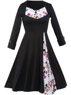 Floral Long Sleeve Tea Length Swing Vintage Dress - Black L