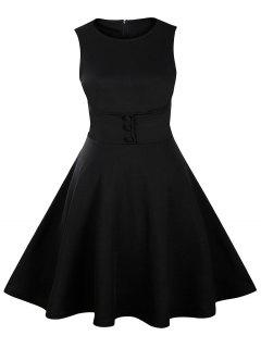 Buttoned Sleeveless Knee Length Swing Vintage Dress - Black L