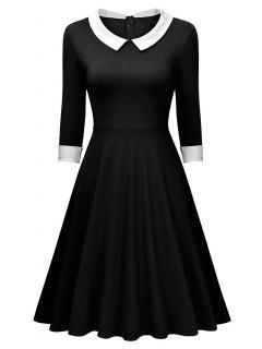 Vestido Panel Retro Cuello Plano Manga Larga  - Negro S