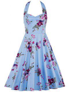 Vestido Sin Mangas Floral Cuello Sin Espalda  - Nublado S