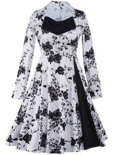 Long Sleeve Monochrome Tea Length Swing Vintage Dress - White And Black 2xl