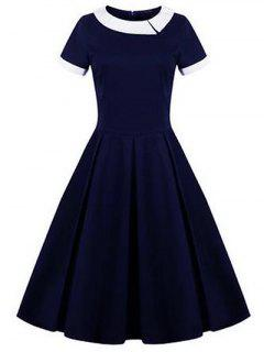Retro Panel Ball Dress - Purplish Blue 2xl