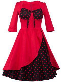 Overlay  Polka Dot Tea Length Swing Retro Dress - Red Xl