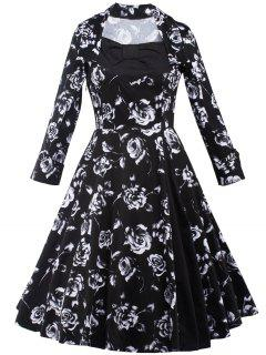 Rose Monochrome Long Sleeve Swing Tea Length Dress - Black S