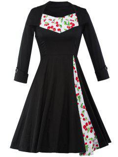 Cherry Print Tea Length Vintage Swing Dress - Black 2xl