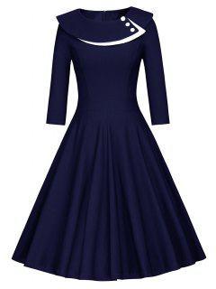 Button Layered Swing Midi Dress - Purplish Blue Xl