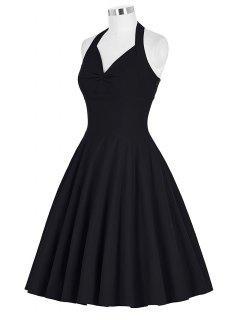 Lace-Up Halter Vintage Swing Corset Club Dress - Black 2xl