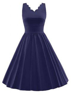 Scalloped A Line Swing Cocktail Dress - Purplish Blue 2xl