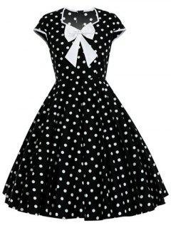 Bowknot Polka Dot Pattern Swing Full Dress - White M