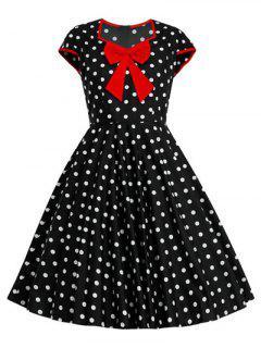 Bowknot Polka Dot Pattern Swing Full Dress - Dot Pattern 2xl