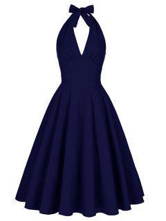 Backless Plunge Halter Vintage Swing Skater Party Dress - Purplish Blue S