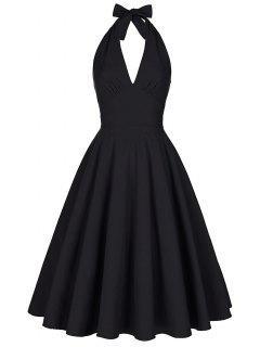 Backless Plunge Halter Vintage Swing Skater Party Dress - Black 2xl