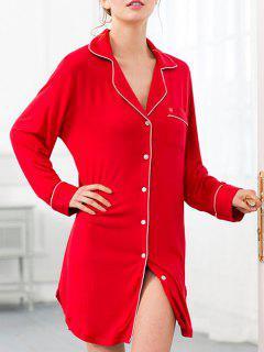 Robe Chemise De Nuit En Coton Avec Poches - Rouge Xs
