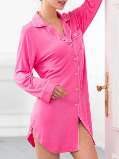 Robe Chemise De Nuit En Coton Avec Poches - Rouge Rose Xs
