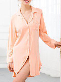 Robe Chemise De Nuit En Coton Avec Poches - Orange Rose Xs