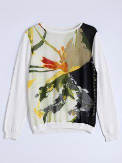 Sweat Avec Col Rond à Motifs Peinture Chinoise - Blanc S