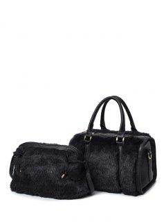 PU Leather Metal Faux Fur Tote Bag - Black