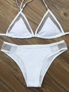 Voile Panel See-Through Bikini Set - White S