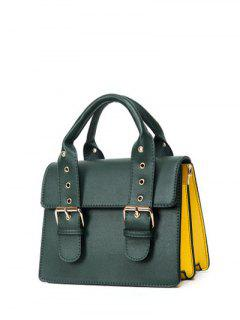 Color Block Eyelets Double Buckles Crossbody Bag - Blackish Green