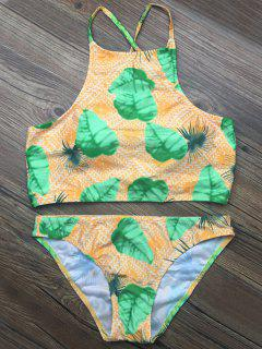 Crosscriss Tropical Print Bikini Set - Green S