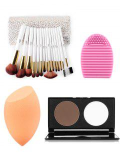 Ensemble De 15 Pinceaux Pour Le Maquillage + Ensemble De Poudre Pressée + Éponge Maquillage + Brosse œuf