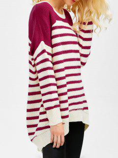 Striped Oversized High Low Sweater - Wine Red 2xl