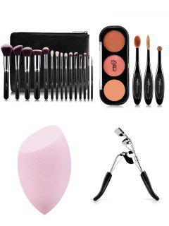 Makeup Brushes Kit + Eyeshadow Kit + Beauty Blender + Eyelash Curler - Black