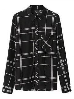 Chemise à Carreaux Avec Poche - Noir S