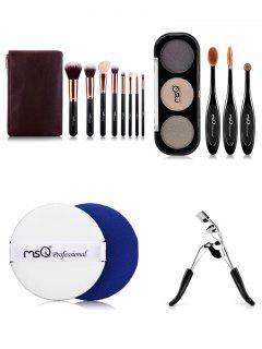 Makeup Brushes Kit + Eyeshadow Kit + BB Cream Puff + Eyelash Curler