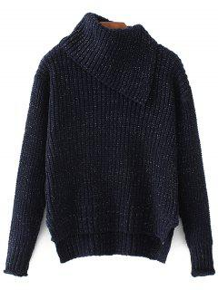 High-Low Chunky Sweater - Bleu Violet