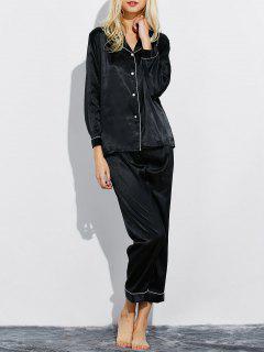 Fitting Silk Nightwear Pajamas - Black M